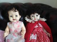 "ANTIQUE 1940s TWO RODDY WALKER FLIRTY EYES 20"" COLLECTORS DOLLS WITH CLOTHES ONE WITH TEETH"