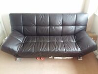 Sofa Bed Faux Brown Leather