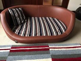 Large Luxury Leather Dog Bed