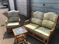 Three piece suite cane furniture for conservatory or outside