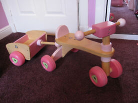Girls wooden trike with trailer