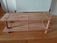 Shoe rack - 2 tier wood 30x80x27cm
