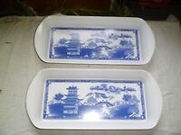 PAIR OF SMALL MELAMINE TRAYS WITH JAPANESE SCENES