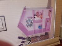 Pink dolls house book case brand new storage