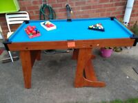 Fold Away Billiard Pool Table (includes balls, chalk and triangle but no cues)