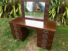 Antique wooden rose carved dressing table with mirror
