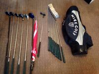 Golf clubs, bag and shoe bag with trolley, umbrella, balls and tees