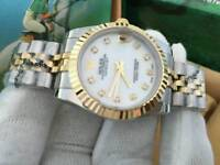 New Swiss Ladies Rolex Datejust Perpetual Automatic Watch, Stone face two tone