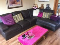 Large brown leather corner suite with chaise long