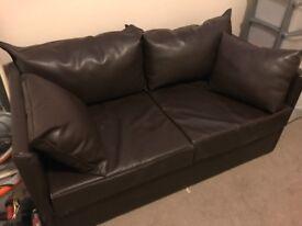 Brown faux leather double futon