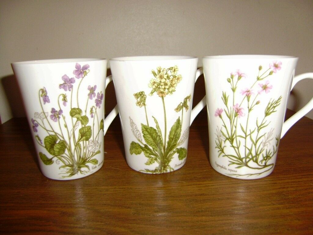 Lovely set of 3 floral design mugs by Royal Kendal, VGC