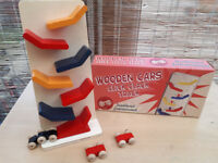 Wooden cars click clack track - NEW, BOXED
