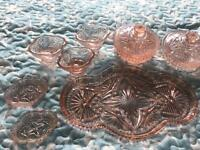 Rose glass dressing table set.