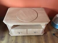 TV UNIT SWIVEL TOP AND TWO DRAWERS - REALLY SOLID UNIT