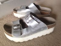 SIXTYSEVEN silver platform plateau sandals shoes