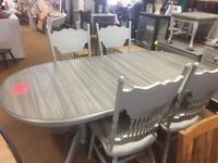 SOLID PINE PAINTED EXTENDING DINING TABLE WITH 4 CHAIRS ## FREE DELIVERY ##