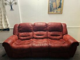 3 + 2 Red maroon Recliners sofa suit