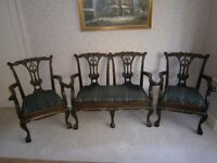 REPRODUCTION GEORGIAN THREE PIECE SUITE.SOLID WOOD AND BEAUTIFUL CARVING.