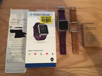 FITBIT BLAZE SIZE SMALL PURPLE (£159.95), FITBIT TAN LEATHER BAND S (£49.95) & SCREEN PROTECTORS