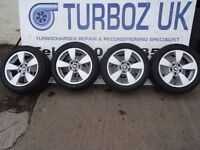 """GENUINE 17"""" BMW ALLOYS NO CRACKS BUCKLES OR KERBING 4 NEW 22550 17 TYRES ALL ROUND £250ono"""