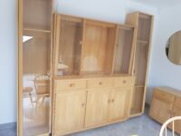 Ercol Windsor 3 door High Sideboard, top display, display cabinet shelves stand units