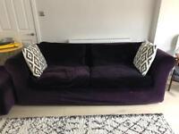 Habitat Purple Velvet Sofa Suite