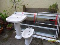 Pedestal Basin, Bidet, chrome towel Rail and Shower Enclosure