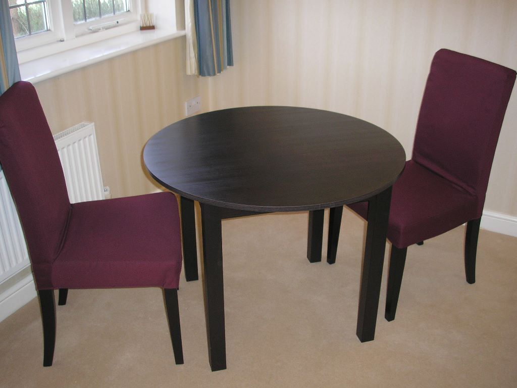 Reduced kea round dark wood table with two ikea chairs 6 months old unmarked as new - Ikea wooden dining table chairs ...