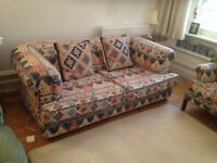 Very comfortable sofa and matching high back chair