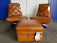 FABB SOFAS MODE BROWN LEATHER SWIVEL CHAIRS & STORAGE FOOTSTOOL DELIVERY AVAILABLE