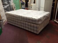 4 foot wide double divan bed with storage compartment in bottom base & 10 inch thick mattress