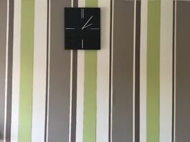 Black Glass Clock, no defects , as new + free decorative frame available