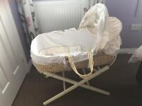 Moses basket, baby bath, cot bedding