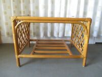 BAMBOO TWO TIER GLASS TOP COFFEE TABLE SIDE TABLE CONSERVATORY TABLE