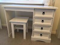 White painted wood dressing vanity table desk with 4 drawers and stool.