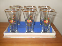 6 Vintage Sherry or drings Glasses 1960's Fruit design In nice condition in the original box.