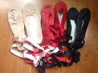 Ballet shoes size 8 adult x 3 pairs, 2xblack, red-in NW3