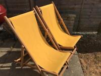 Solid wood deck chairs x2