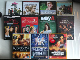 DVD bundle 10 Things Alexander Atonement Bunny Bull Cruel Intentions Easy A King Arthur Magic Mike