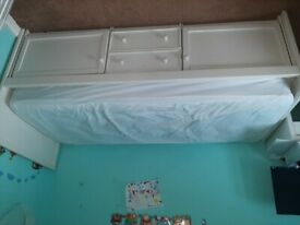 Small single cabin bed with mattress and 2 mattress protectors