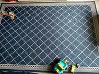 Blue and Beige Crisscross Patterned rug