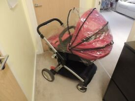 Mothercare pram / pushchair in red - CHASSIS DOESN'T FOLD