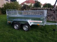 New trailer 8.7 x 4.1 twin axle-build, side with mesh and ramp £ 1150 inc vat