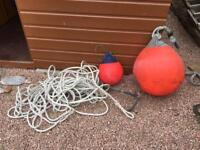 Mooring Anchor and Rope and Buoys