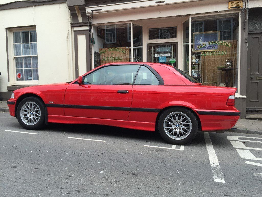 stunning bmw e36 328i cabrio individual in mint condition helrot red with factory hardtop. Black Bedroom Furniture Sets. Home Design Ideas