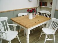 Stunning Pine Country Farmhouse 4ft Table and Chair Set.