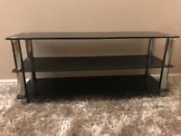 BLACK GLASS TV STAND (PERFECT CONDITION)