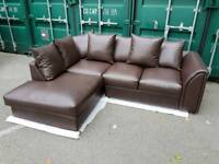 NEW Brown Leather Corner Chaise Sofa DELIVERY AVAILABLE