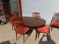 Dinning room table and 6 chairs (G-Plan)