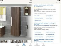 Modern contemporary Walnut hang on wall bathroom unit